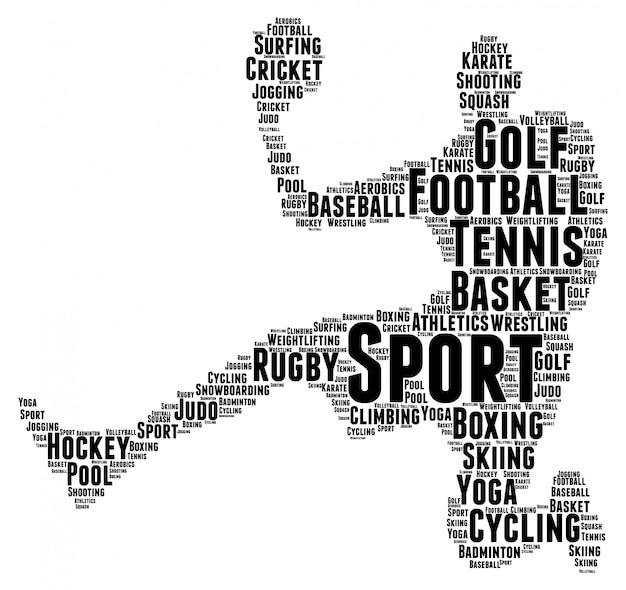 Palavras nuvem conceito de forma de jogador de esporte Vetor Premium