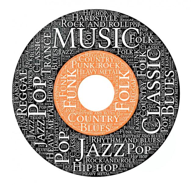 Palavras nuvem de forma de registro de vinil de música Vetor Premium