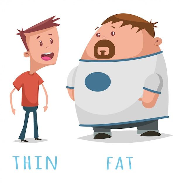 Palavras opostas adjetivo gordo e magro. Vetor Premium