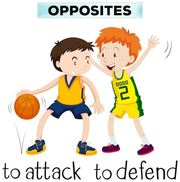 Palavras opostas para attck e defender Vetor grátis