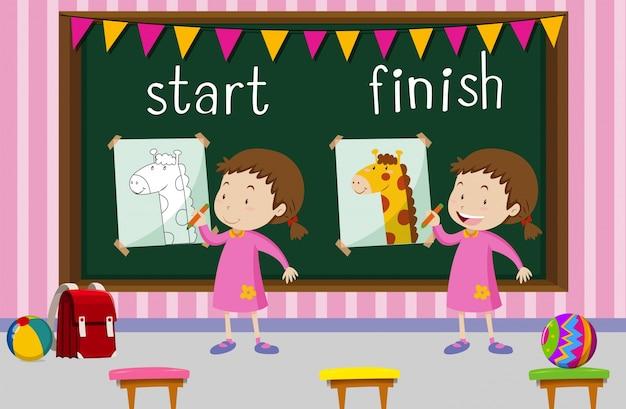Palavras opostas para começar e terminar com girafa de desenho de menina Vetor grátis