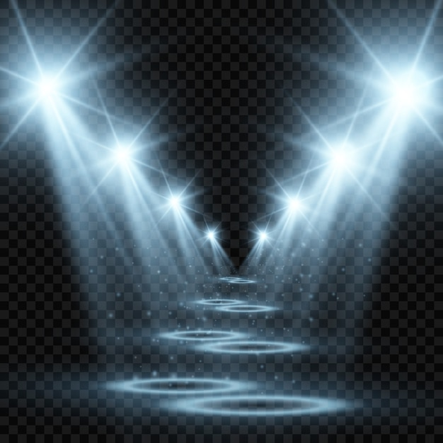 Palco branco com holofotes. ilustração de uma luz com brilhos em um fundo transparente. Vetor Premium