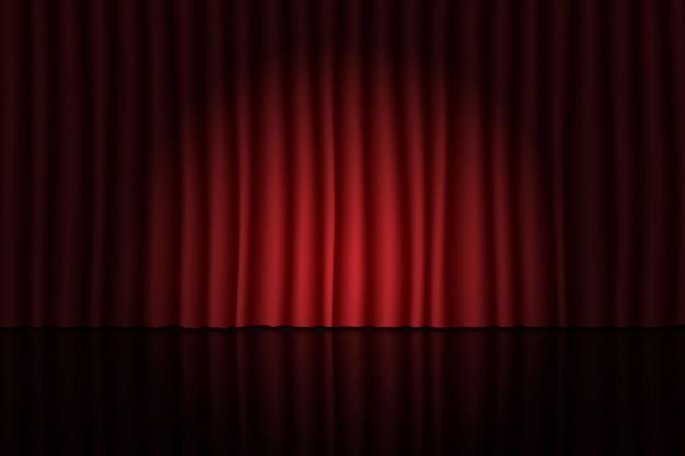 Palco com cortina vermelha e holofotes. fundo de teatro, circo ou cinema Vetor Premium