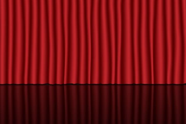 Palco com cortina vermelha. fundo de teatro, circo ou cinema Vetor Premium