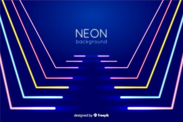 Palco com forma de linhas de luzes de neon Vetor grátis