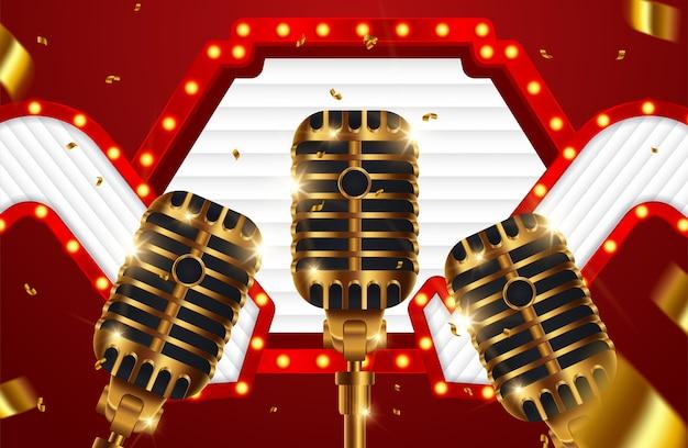 Palco com microfone de ouro no fundo brilhante Vetor Premium