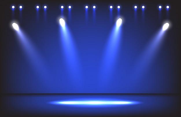 Palco da noite com iluminação holofotes cena de fundo Vetor Premium