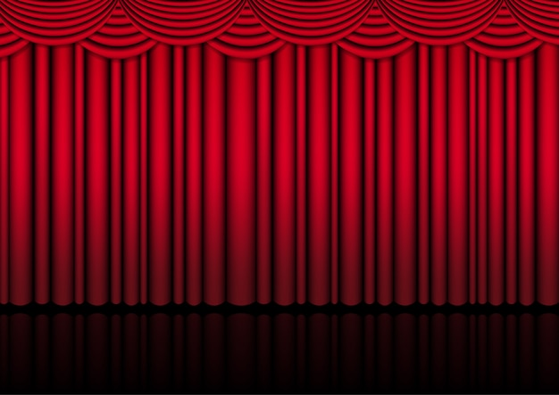 Palco de cenário de teatro realista interior com uma cortina vermelha para show de comédia ou filme de ato de ópera. Vetor Premium