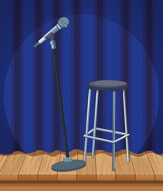 Palco de cortina de tamborete de microfone stand up comedy show Vetor Premium