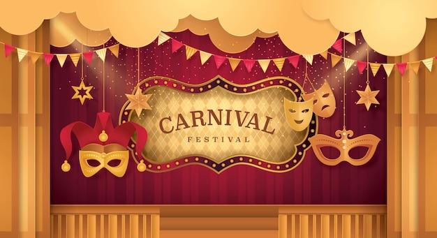 Palco de cortinas premium com moldura de circo, festival de carnaval Vetor Premium