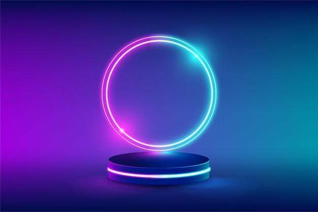 Palco de néon vazio para substituição de produto com círculos futuristas de luz de néon azul e rosa Vetor Premium