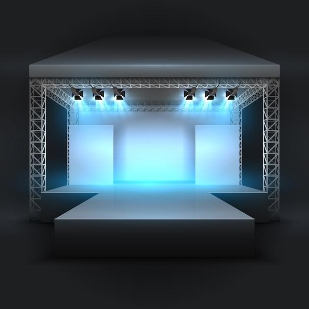 Palco de show de música vazio com foco de holofotes Vetor Premium
