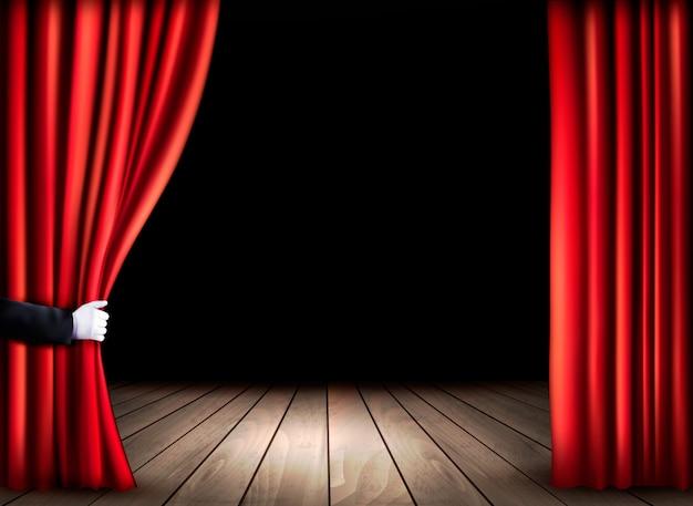 Palco de teatro com piso de madeira e cortinas vermelhas abertas. . Vetor Premium