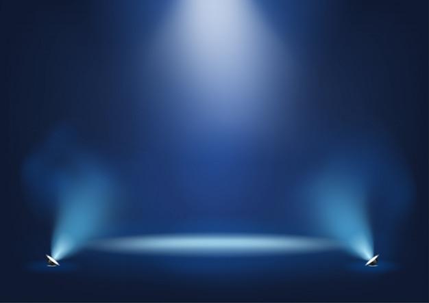Palco iluminado com luzes brilhantes modelo para apresentação Vetor Premium