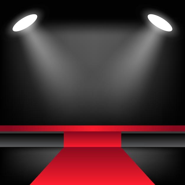 Palco iluminado com tapete vermelho Vetor Premium