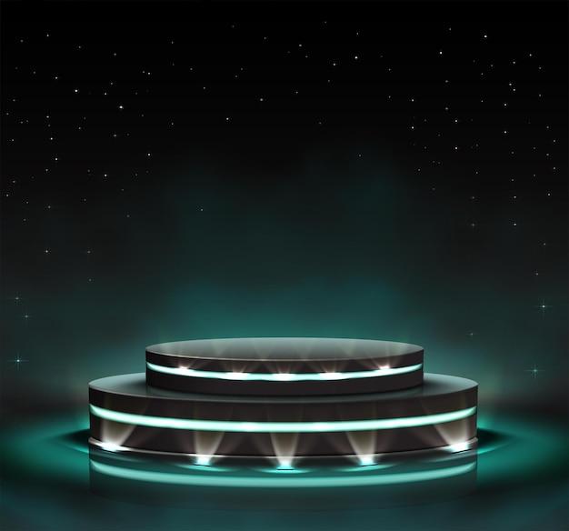 Palco preto luminoso neon com holofotes ao redor Vetor Premium