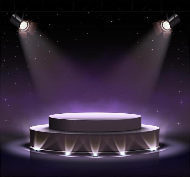 Palco preto luminoso neon com luzes spot ao redor e efeito de nuvens. Vetor Premium