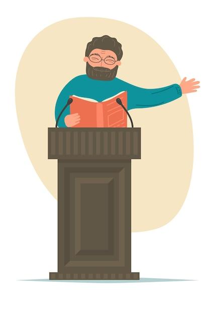 Palestra. alto-falante com livro falando na tribuna do pódio. Vetor Premium