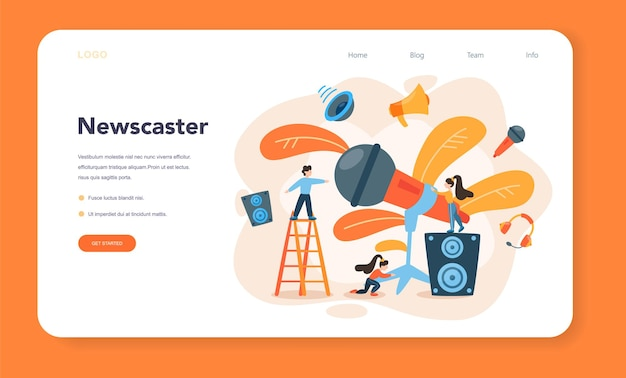 Palestrante profissional, banner de comentarista da web ou página de destino Vetor Premium