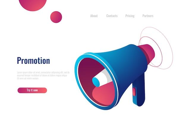 Palestrante, promoção e publicidade, notificação e ícone isométrica de notícias Vetor grátis