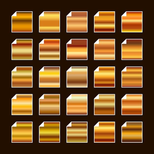 Paleta de cores de metal amarelo laranja ouro. textura de aço Vetor Premium