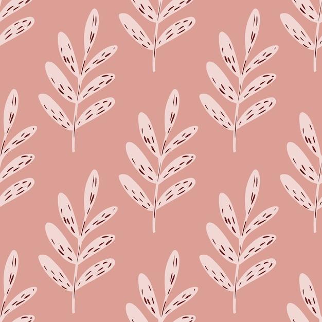 Paleta rosa sem costura padrão floral com folhas de ramos. Vetor Premium