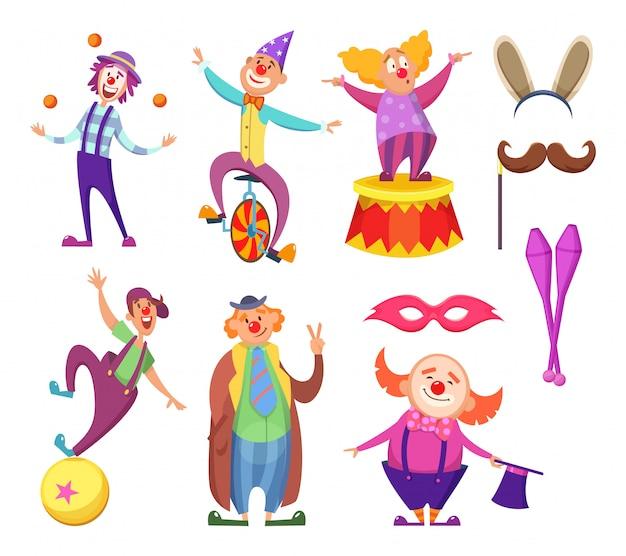 Palhaço de personagem dos desenhos animados, comediante e palhaço desempenho em traje Vetor Premium