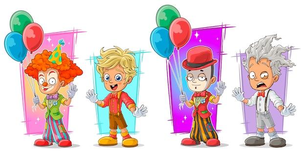 Palhaço dos desenhos animados com conjunto de caracteres do balão Vetor Premium