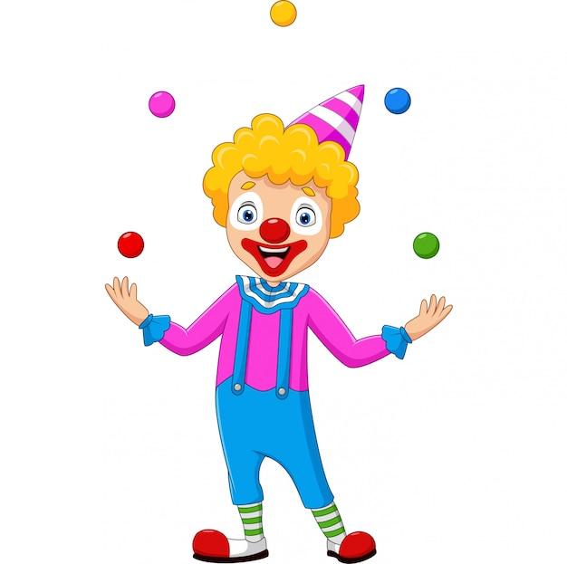 Palhaço feliz, malabarismo com bolas coloridas Vetor Premium