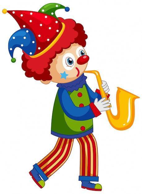 Palhaço feliz tocando saxofone no fundo branco Vetor grátis