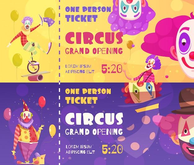 Palhaços de circo bannerft Vetor grátis