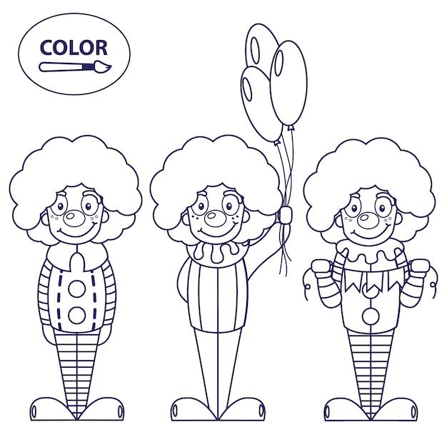Palhacos Uma Imagem Para Colorir Vetor Premium