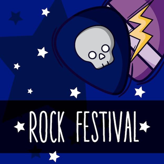 Palheta de guitarra e festival de rock de estrelas Vetor Premium
