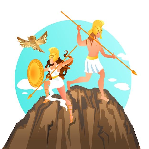 Pallas athene e ares marte deus e deusa da guerra Vetor Premium