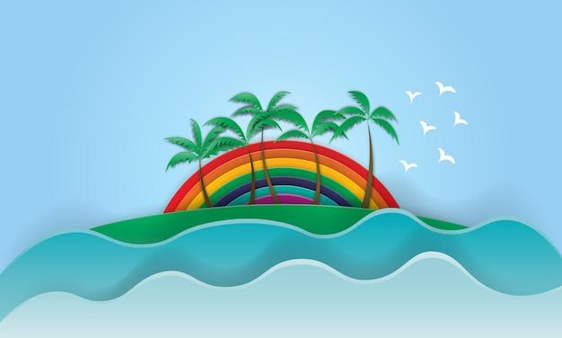 Palm beach com fundo do arco-íris no estilo de arte de papel Vetor Premium