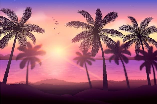 Palm silhuetas fundo conceito Vetor grátis