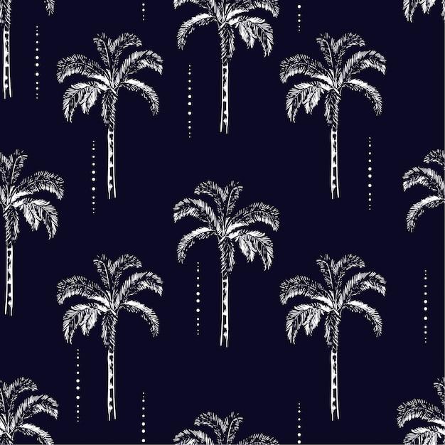 Palm trees silhouette padrão sem emenda de vetor Vetor Premium