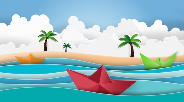 Palma da praia do verão com navigação do barco no mar. Vetor Premium