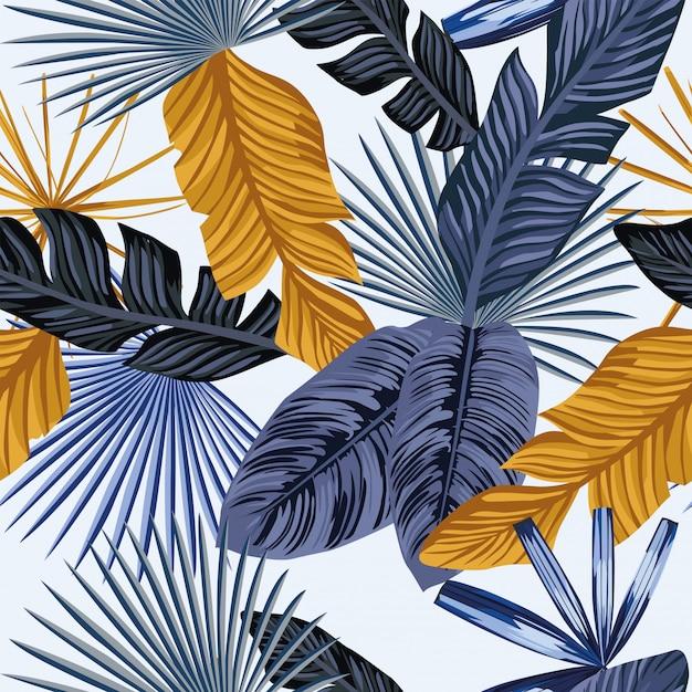 Palma de ouro azul deixa papel de parede padrão sem emenda Vetor Premium