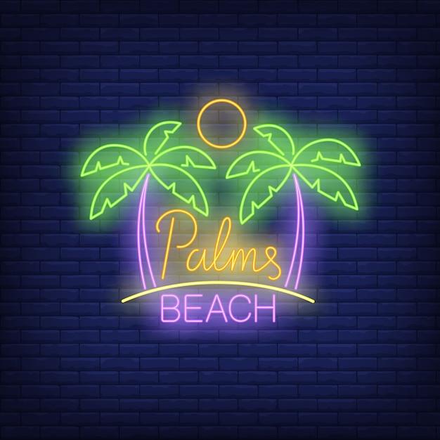 Palmas, texto de néon de praia com sol Vetor grátis