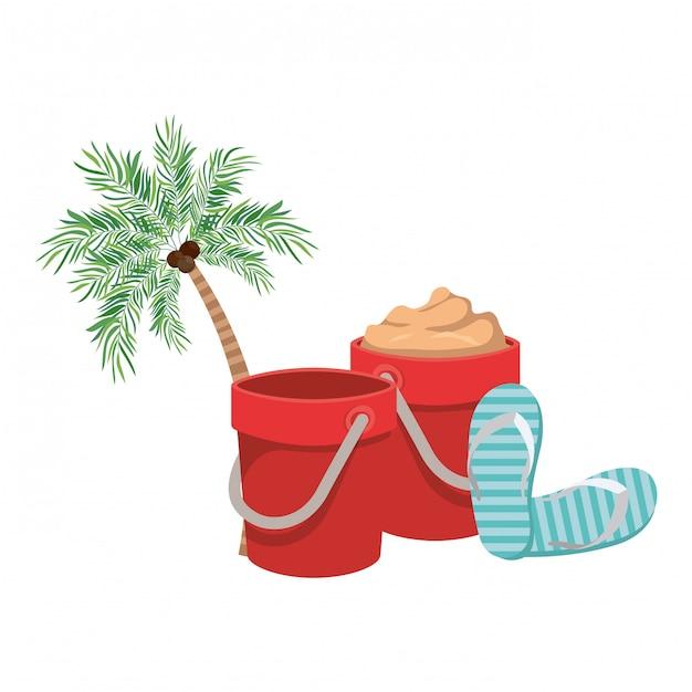 Palmeira com coco branco Vetor grátis