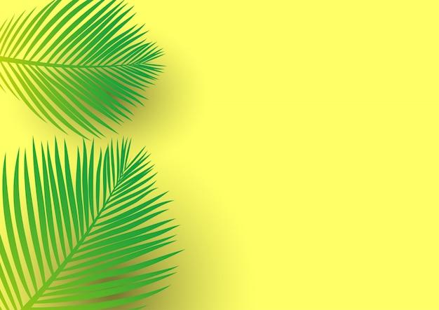 Palmeira deixa em um fundo amarelo brilhante Vetor grátis