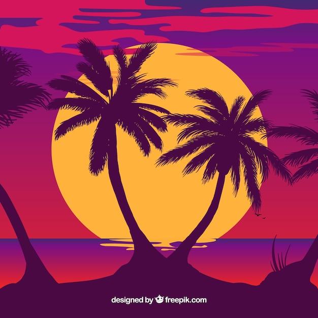 Palmeira silhueta ilustração Vetor grátis