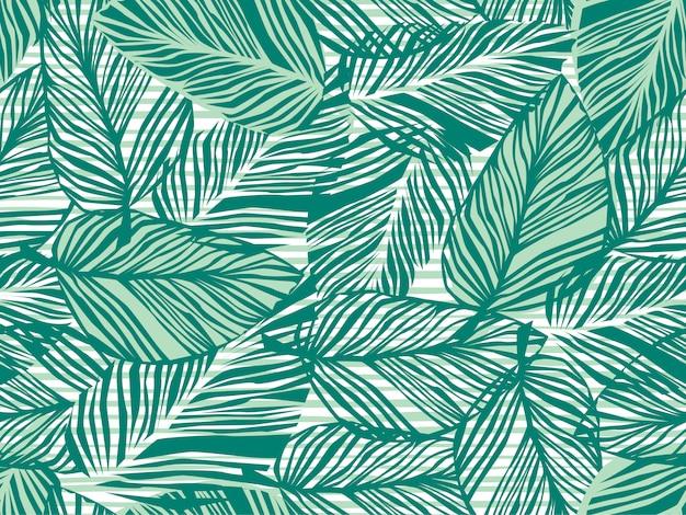 Palmeira tropical deixa padrão sem emenda Vetor Premium