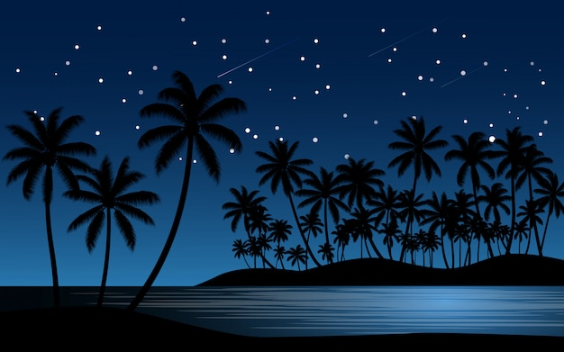Palmeiras na praia com céu estrelado Vetor Premium