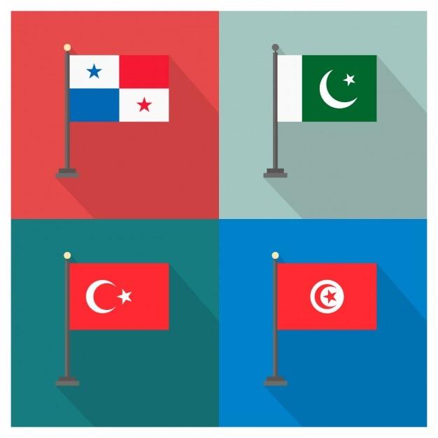 Panamá paquistão turquia e tunísia bandeiras Vetor grátis