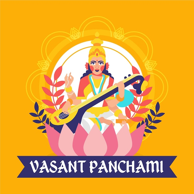 Panchami vasante plano ilustrado Vetor grátis