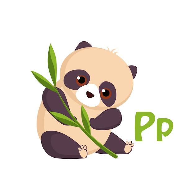 Panda. alfabeto engraçado, animal Vetor Premium