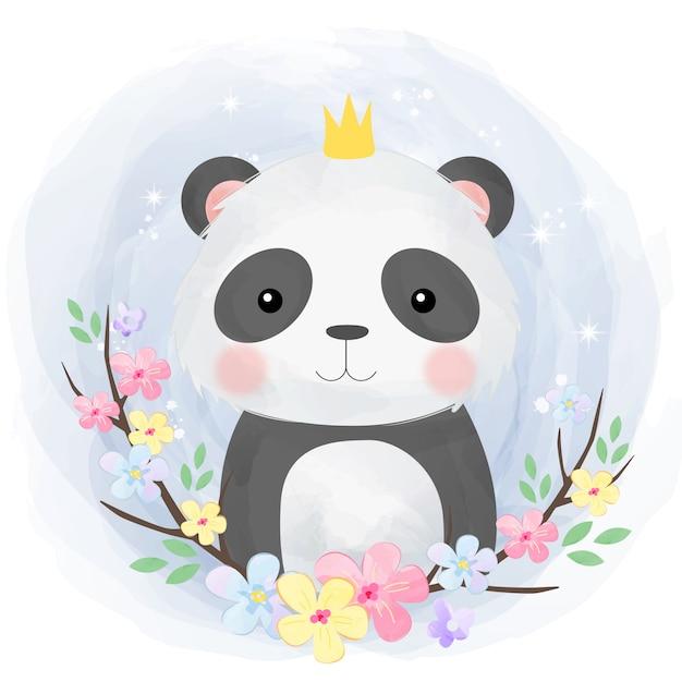 Panda bebê fofo Vetor Premium