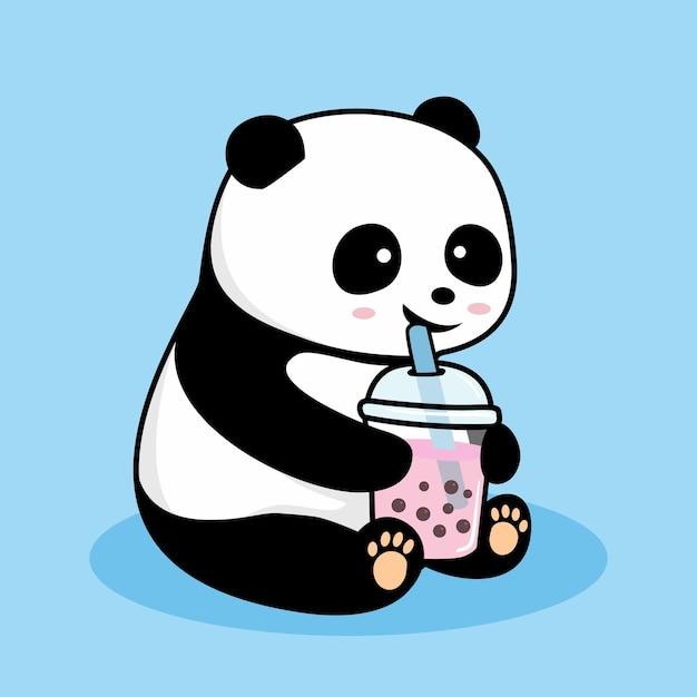 Panda bonito bebendo boba desenho animado Vetor Premium
